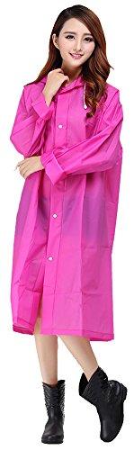 Sister Amy Women's Lightweight Hooded Raincoat Outdoor Cover Long Rainwear RoseRed L