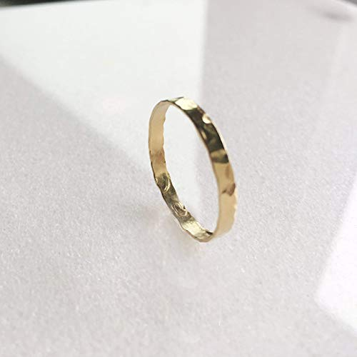 Yellow Gold Filled Hammered Stacking Ring 2mm Band Gift for Women - Size 8