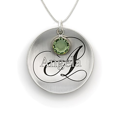- Domed Name Like No Other Personalized with Swarovski Birthstone Necklace. Sterling Silver Pendant Showcases a Name and Monogramm Initial. Includes a choice of 925 Chain. Unique, Trendy Gifts for Her