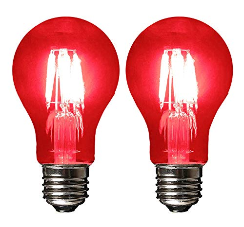 SleekLighting LED 4Watt Filament A19 Red Colored Light Bulbs Dimmable - UL Listed, E26 Base Lightbulb - Energy Saving - Lasts for 25000 Hours - Heavy Duty Glass - 2 Pack (Blue And Green Lightbulbs)
