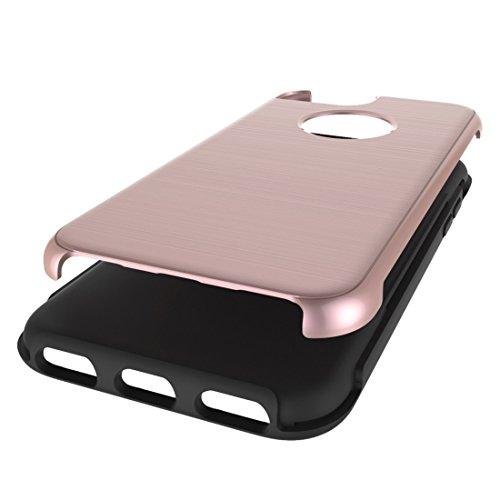 Phone Hülle für iPhone 7 ,Schutzhülle Für iPhone 7 Einfache gebürstete Textur 2 in 1 PC + TPU Kombination Schutzhülle ,cover für apple iPhone 7,case for iphone 7 ( Color : Rose gold )