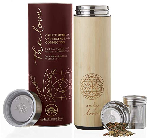 (The Love Bamboo Tea Tumbler Thermos with Infuser + Strainer 511ml/18oz for Loose Leaf Tea, Coffee & Fruit Water Flask. Vacuum Insulated Travel Bottle. Leak Proof + BPA Free)