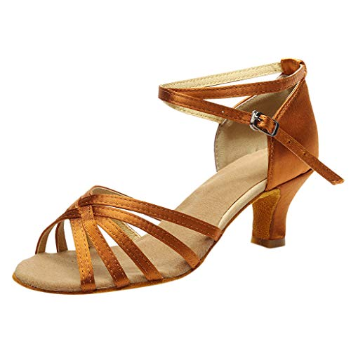 MILIMIEYIK Womens Latin Dance Shoes Closed Toe Ballroom Dance Shoes Ankle Strap Ladies Character Party Prom Dancing Pump Brown