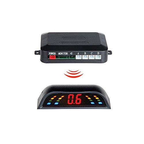 GISION LED Display 4 Sensors Car Parking System Car-detector Reversing Backup Radar Parktronic Sensors Wireless,6 Color. ( Color : Blue ):