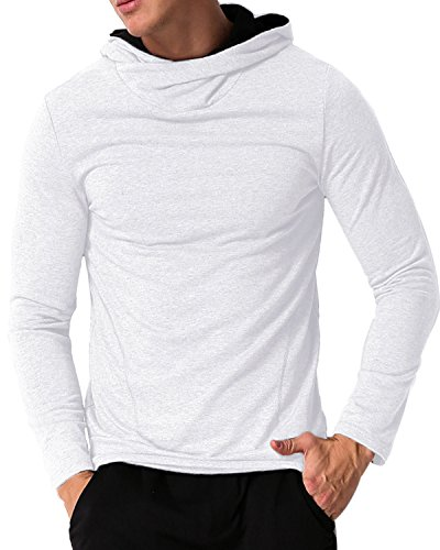 MODCHOK Men's Pullover Hoodies Gym Hooded Sweaters Comfy Collar Sweat Shirts (M, White) Athletic Long Sleeve Sweater