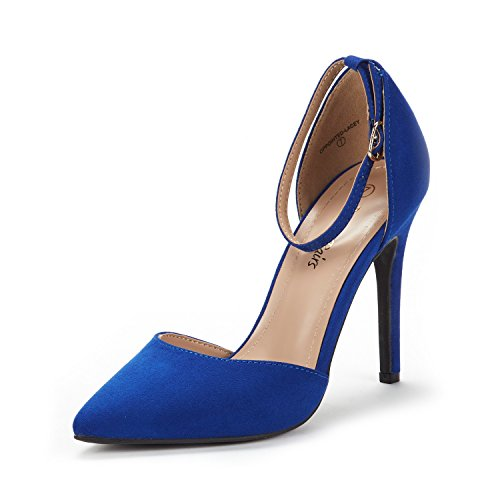 DREAM PAIRS Women's Oppointed-Lacey Royal Blue Fashion Dress High Heel Pointed Toe Wedding Pumps Shoes Size 6.5 M US