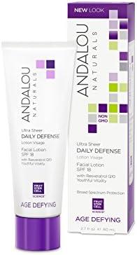 Andalou Naturals Ultra Sheer Daily Defense Facial Lotion, SPF 18, 2.7 oz, with Resveratrol CoQ10 and Antioxidants, Lightweight, Hydrating Facial Moisturizer