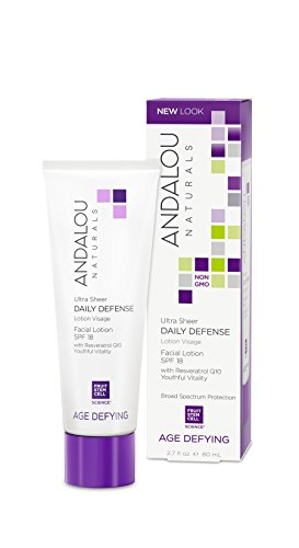 (Andalou Naturals Ultra Sheer Daily Defense Facial Lotion, SPF 18, 2.7 oz, with Resveratrol CoQ10 and Antioxidants, Lightweight, Hydrating Facial Moisturizer)