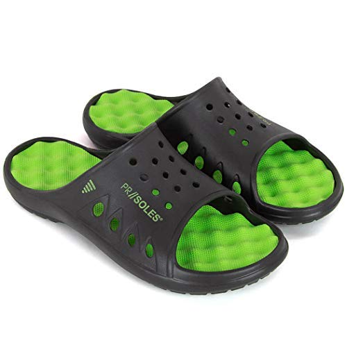 PR Soles Original Sandals | Foot Massaging & Recovery Footwear | Mens & Womens Original Slides | Black & Neon Green | XS | (W) 6.5-7.5