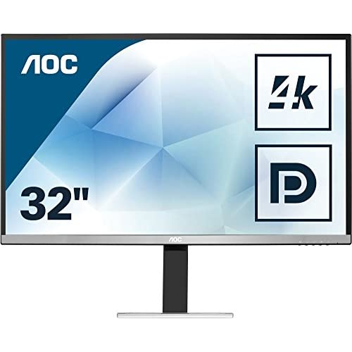 chollos oferta descuentos barato AOC Monitores U3277FWQ Pantalla para PC de 31 5 UHD 4K Resolución 3840 x 2160 Pixels Tecnología FlickerFree Contraste 3000 1 4 ms VESA Altavoces Displayport HDMI Plata Negro