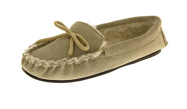 Amazon.com | Lodgemok Mens Beige Leather Moccasins Slippers US 8 | Slippers