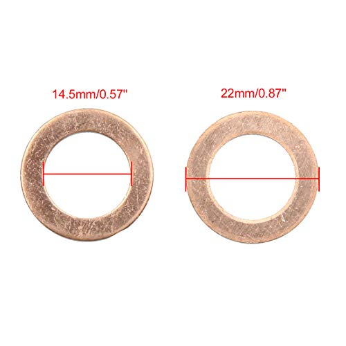 X AUTOHAUX 14.5mm Inner Dia Copper Crush Washers Flat Car Sealing Gaskets Rings 30pcs by X AUTOHAUX (Image #2)