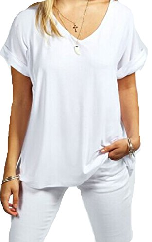 Meaneor Women Solid Comfy Loose Fit Roll Over Short Sleeve V Neck Batwing Top Tee (S, White)