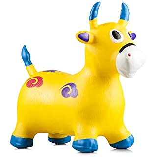 Riding Horse for Kids - Bouncy Horse - Horse Toys for Girls - Bouncy Horse for toddlers - Horse toys - Inflatable Jumping Bouncing Yellow Horse for Kids with Pump Included - Rocking Horse - Rody Horse
