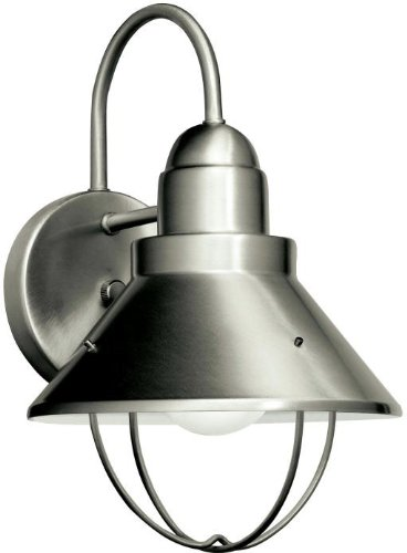 Kichler 11098NI Seaside Outdoor Wall 1-Light Fluorescent, Brushed (Chrome Fluorescent Lock)