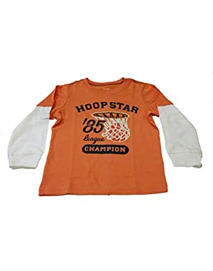 Baby Boys Hoop Star Tee (18 Months, Orange)