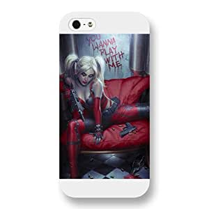 UniqueBox Harley Quinn Custom Phone Case for iPhone 5 5S, DC comics Harley Quinn Customized iPhone 5 5S Case, Only Fit for Apple iPhone 5 5S (White Frosted Shell)