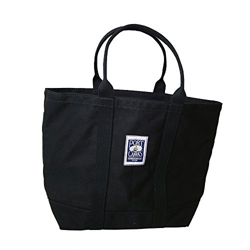 Handmade Heavy Duty Canvas Clipper Tote Bag By PORT CANVAS - Made of 100% Cotton One At A Time in Maine, USA - All Black made in New England