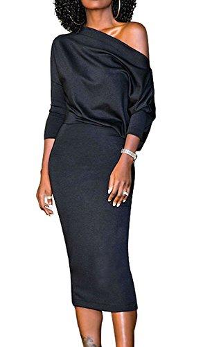 one shoulder batwing sleeve dress - 5