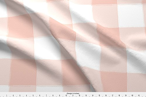Spoonflower Blush Pink Fabric - Blush Pink Pink Gingham Pink Buffalo Check Large Buffalo Check Large Gingham Watercolor Check - by Sugarfresh Printed on Kona Cotton Ultra Fabric by The Yard
