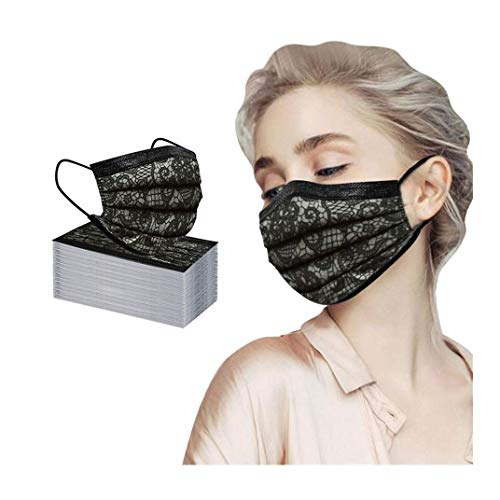 Wendeyipi 50 Pcs Disposable Face Breathable 3 Layer Protection Lightweight Dust Protective Facial Covering for Women