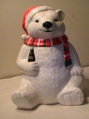 39dd19387a77d Amazon.com  Coca Cola Polar Bear with Scarf   Santa Hat Cookie Jar ...