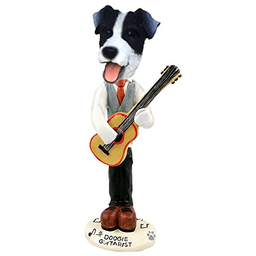 Black and White Jack Russell Guitarist Doogie Collectible Figurine