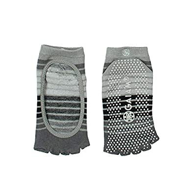 Gaiam Grippy Yoga Socks - Full-Toe, Toe-less, Lace-Up, Studio for Extra Grip in Hot Yoga, Barre, Pilates or at Home for Added Balance and Stability