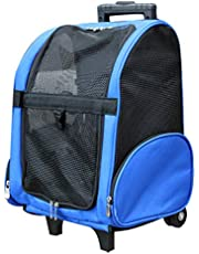 Pet Rolling Carrier Backpack for Cats and Dogs pet Trolley on Wheels Designed for Travel, Hiking, Walking & Outdoor Use