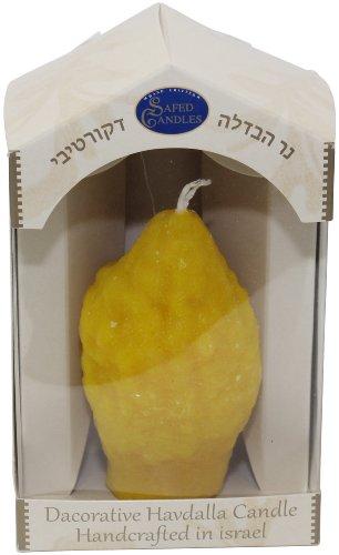 Majestic Giftware SC-ESPL Safed Pillar Havdalah Candle, 3 by 6-Inch, Esrog Shape (Safed Pillar Candles)