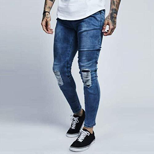 Stretch Slim Da Pantaloni Fit Blau Comodo Skinny Uomo Battercake Jeans wOqA0A