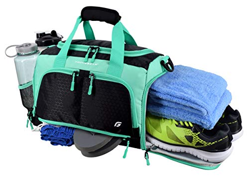 Ultimate Gym Bag 2.0: The Durable Crowdsource Designed Duffel Bag with 10 Optimal Compartments Including Water Resistant Pouch (Teal, Small (15