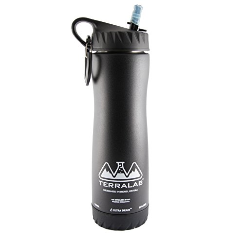 - TERRA LAB :: Stainless Steel :: Vacuum Insulated :: Reusable :: BPA Free :: Hydro Water Bottle :: with Wide Mouth Sport Grip Straw Lid and Ultra Drain Technology, 18 oz, Black