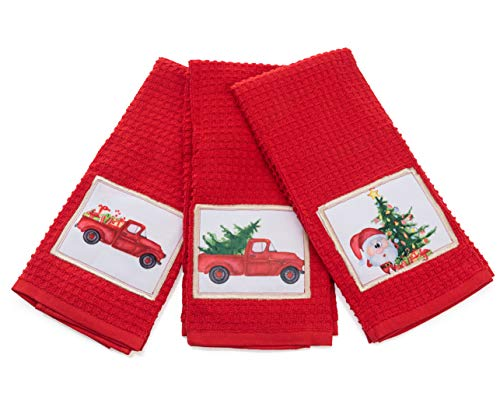 Christmas Kitchen Towels, Decorative Holiday Christmas Dish Towels Set of 3, Perfect Home & Kitchen Gift