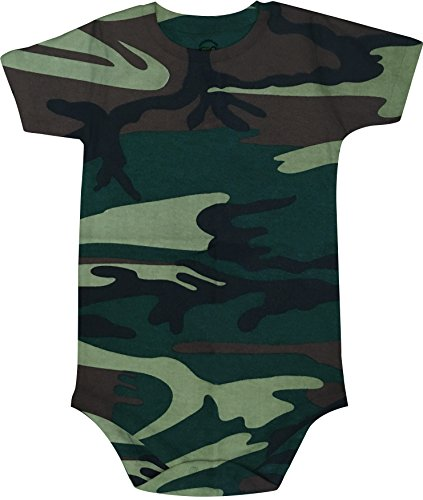 Camouflage Cotton Onesie - 2T 3T 4T 5T 6T 7 8 10 12 Bodysuit Short Sleeve Round Crew Neck - Multi Color (7, Green Camouflage)