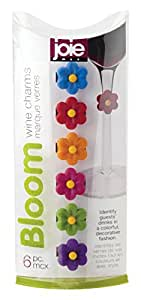 HIC Harold Import Co. 49003-HIC (Set Of 6) Assorted Colors Joie Flower Bloom Cocktail And Wine Glass Charms Home Decor Products