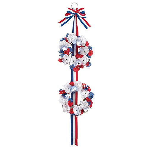 Collections Etc Lighted Sparkling Patriotic Roses Double Wreath