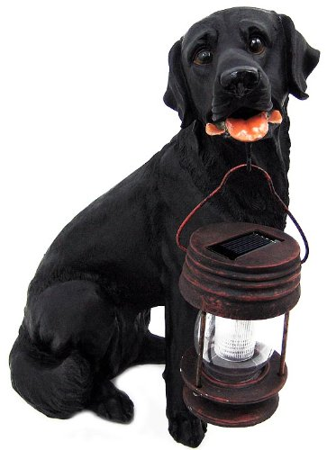 Black Labrador Dog With Lantern Garden Solar Light