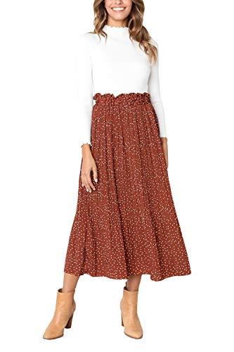 Women's Bohemian High Elastic Waist Polka Dot Printed Pleated Midi Vintage Skirts with Pockets (Coffee, ()