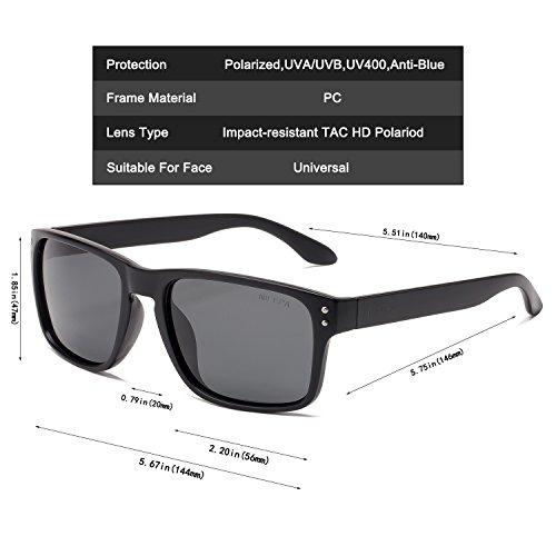 TOMS Manu Noir Mat Polarisées Sunglasses with Dark Grey Polarized Lens HxhWLR
