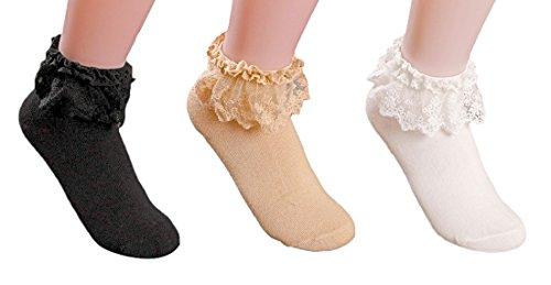 AM Landen Women's set of 3 Lace Ruffle Frilly Cotton Socks Princess Socks Ankle Socks Black Beige and White from AM Landen