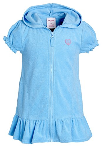 Beach Coverups for Girls Swimsuit Cover up Cotton Terry Hood Swim Robe Swimwear - Turquoise Blue (Size 14/16)