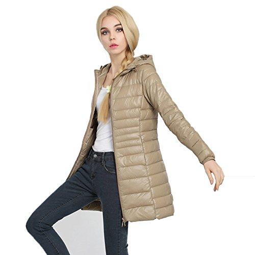 Caracilia Women Plus Size Hooded Long Down Jacket Asian XL/US M Khaki Ca6