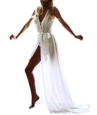 Women Long Beachwear Cover Ups Sheer Chiffon Nightgowns