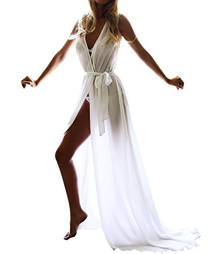 Long Beach Dress for Women Swimwear Cover Ups Deep V-neck High Slit Chiffon US2-12