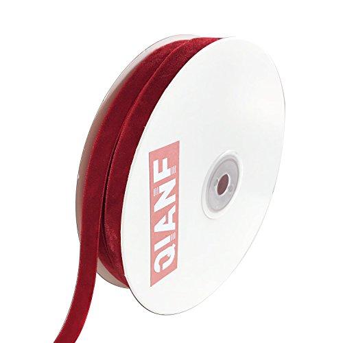 QIANF Vintage Red Velvet Ribbon, 3/8