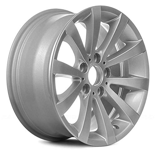 Replacement 10 V Spokes All Painted Silver Factory Alloy Wheel Fits BMW 3-Series: Convertible/Coupe