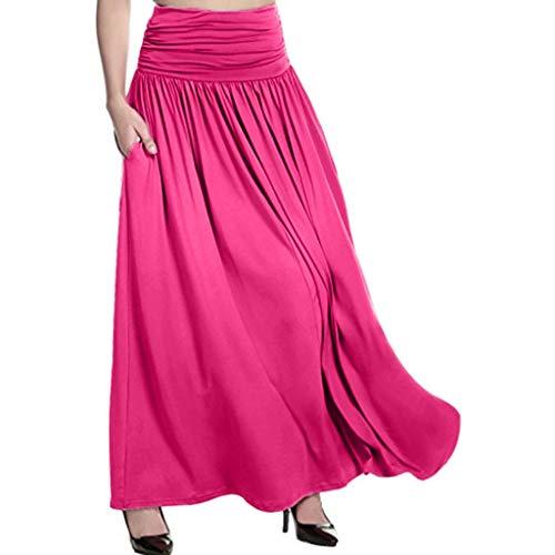 Mysky Fashion Women Popular Solid Color High Waist Plus Size Gypsy Swing Long Maxi Skirt Pink ()