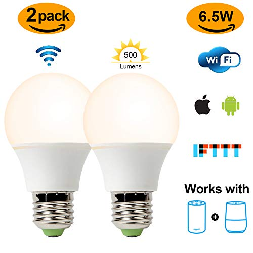Smart Led Bulb, Warm White 65W Equivalent Dimmable Smart Led Light Bulb can Work with Alexa/Amazon Echo and Google Home.No Hub Required, CE/FCC/UL Listed (2-Pack-6.5W) … by GeekDigg (Image #8)