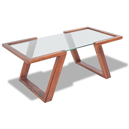 Tempered Glass Top Solid Acacia Brown Wood Coffee Side End Table Wooden Base